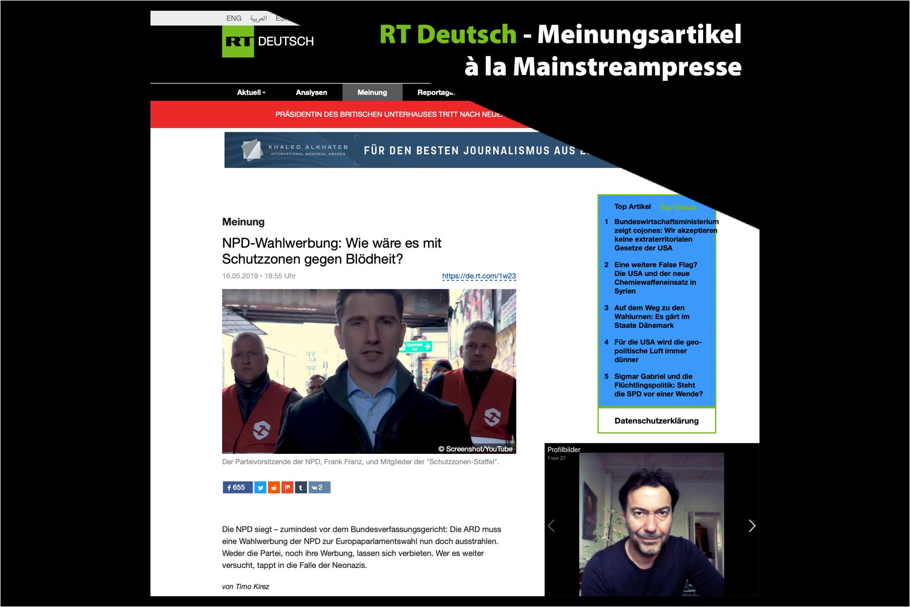 RT Deutsch - Meinungsartikel à la Mainstreampresse