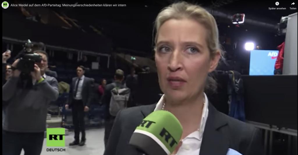 Alice Weidel behauptet im RT Interview Meinungsverschiedenheiten werden hinter verschlossenen Türen geklärt.