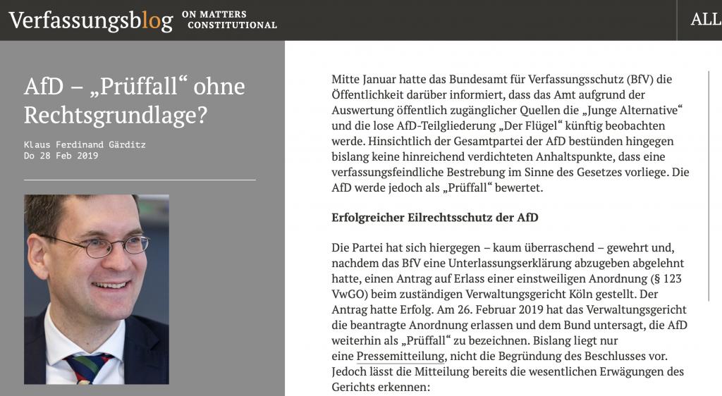 """Auf Verfassungsblog wird mit dem Prüffall-Thema aufgeräumt. """"Keine Rechtsgrundlage"""""""