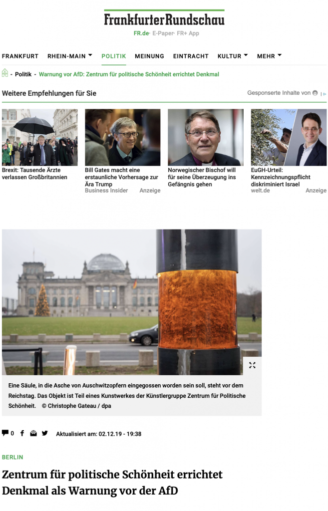 ZPS-Propaganda gegen AfD / Asche von Opfern / Beispiel für Schlagzeilen in der Presse