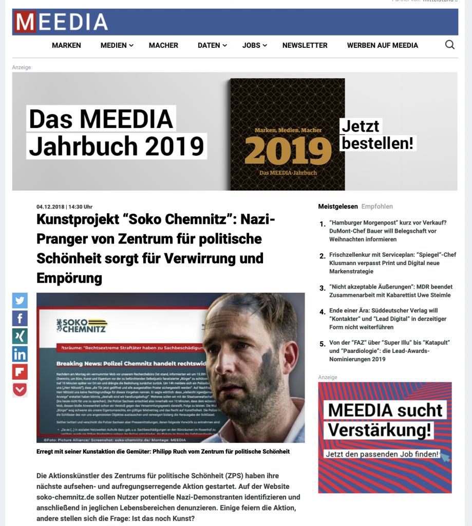 ZPS-Propaganda gegen Demonstranten von Chemnitz / Aufruf zur Denunziation / Beispiel für Schlagzeilen in der Presse