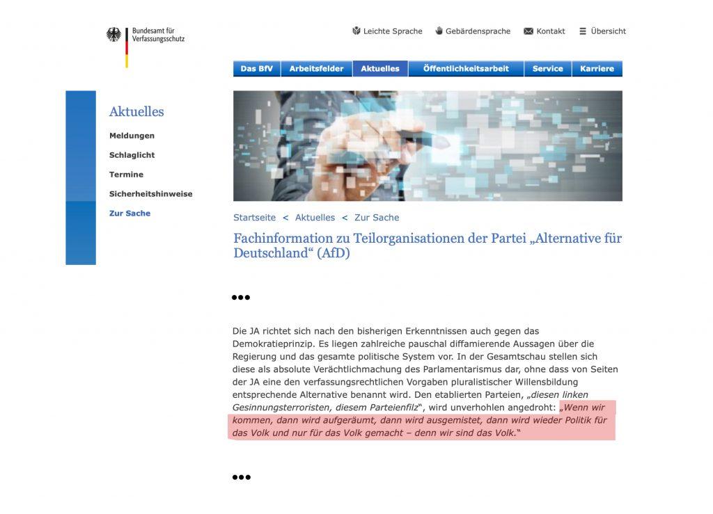 Auf der Seite des Verfassungsschutzes werden Absurditäten sichtbar, geht es um Begründungen zur Beobachtung von Teilen der AfD.