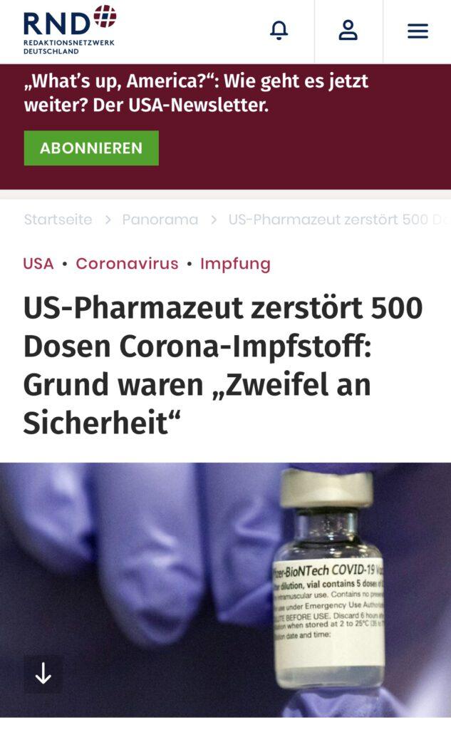 Corona-Impfstoff zerstört